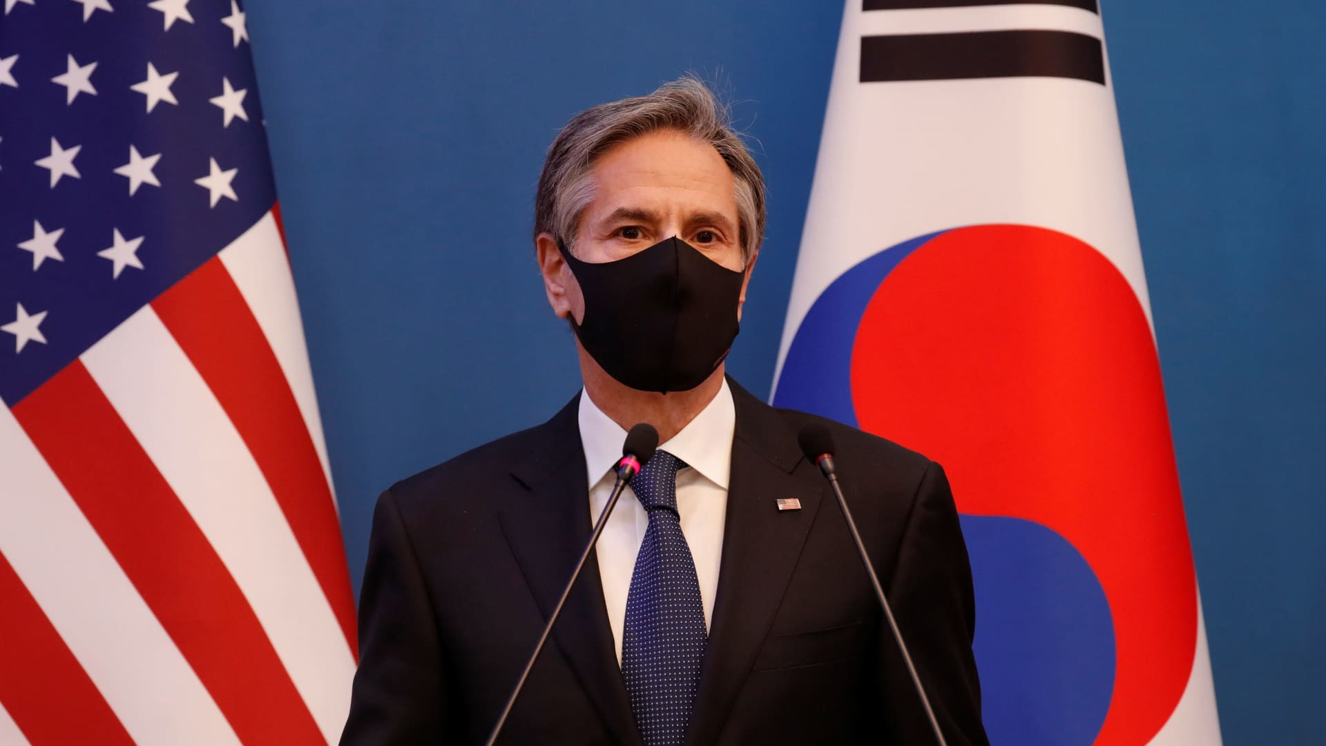 U.S. Secretary of State Antony Blinken speaks during a joint news conference after the Foreign and Defense Ministerial meeting between South Korea and the U.S. at the Foreign Ministry in Seoul, South Korea, March 18, 2021.