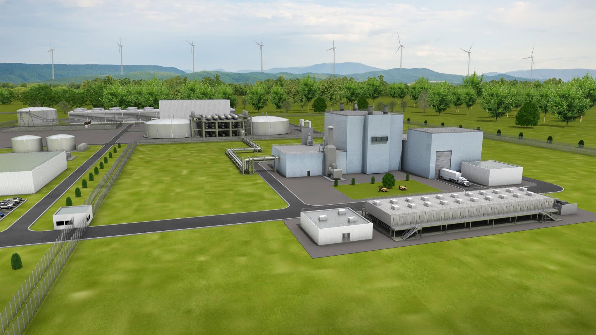 An artist rendering of a TerraPower Natrium power plant.