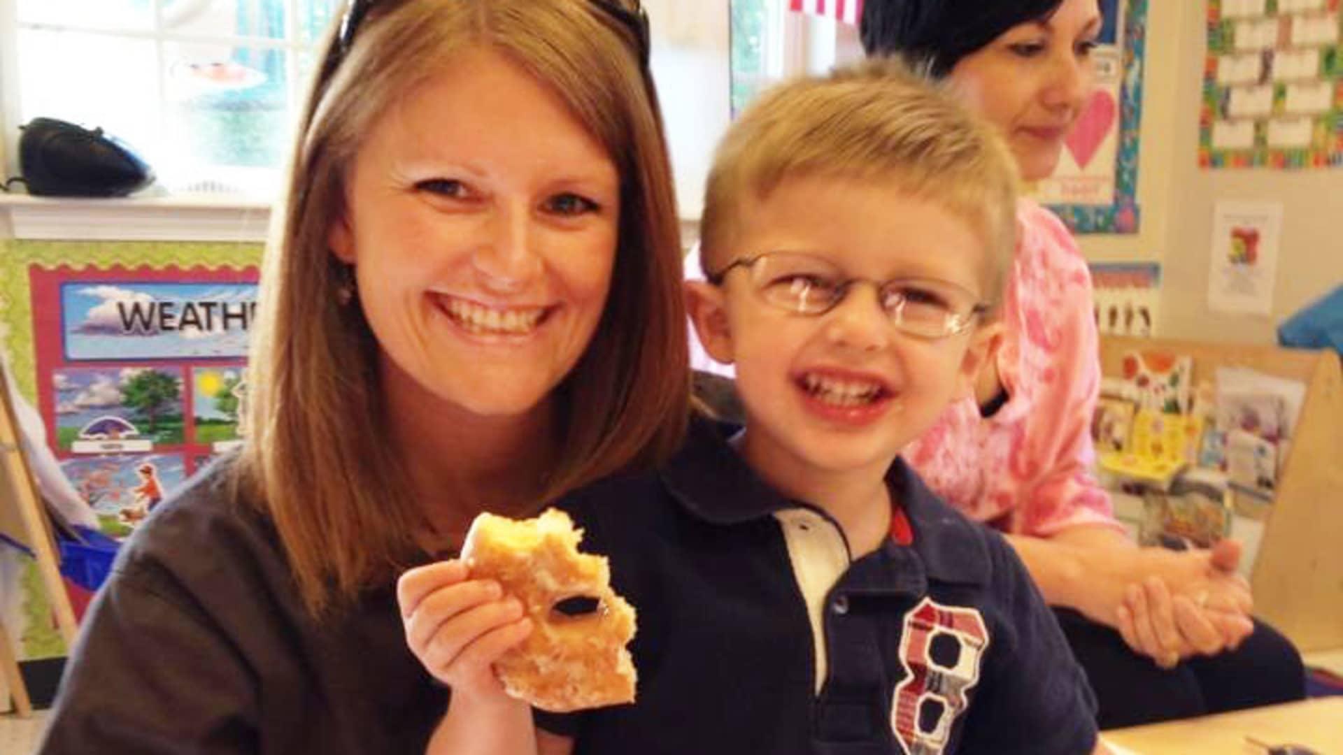 Nurse Joanna Oakley and her son.