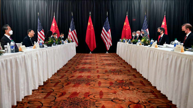 Opening session of U.S.-China talks at the Captain Cook Hotel in Anchorage, Alaska on March 18, 2021