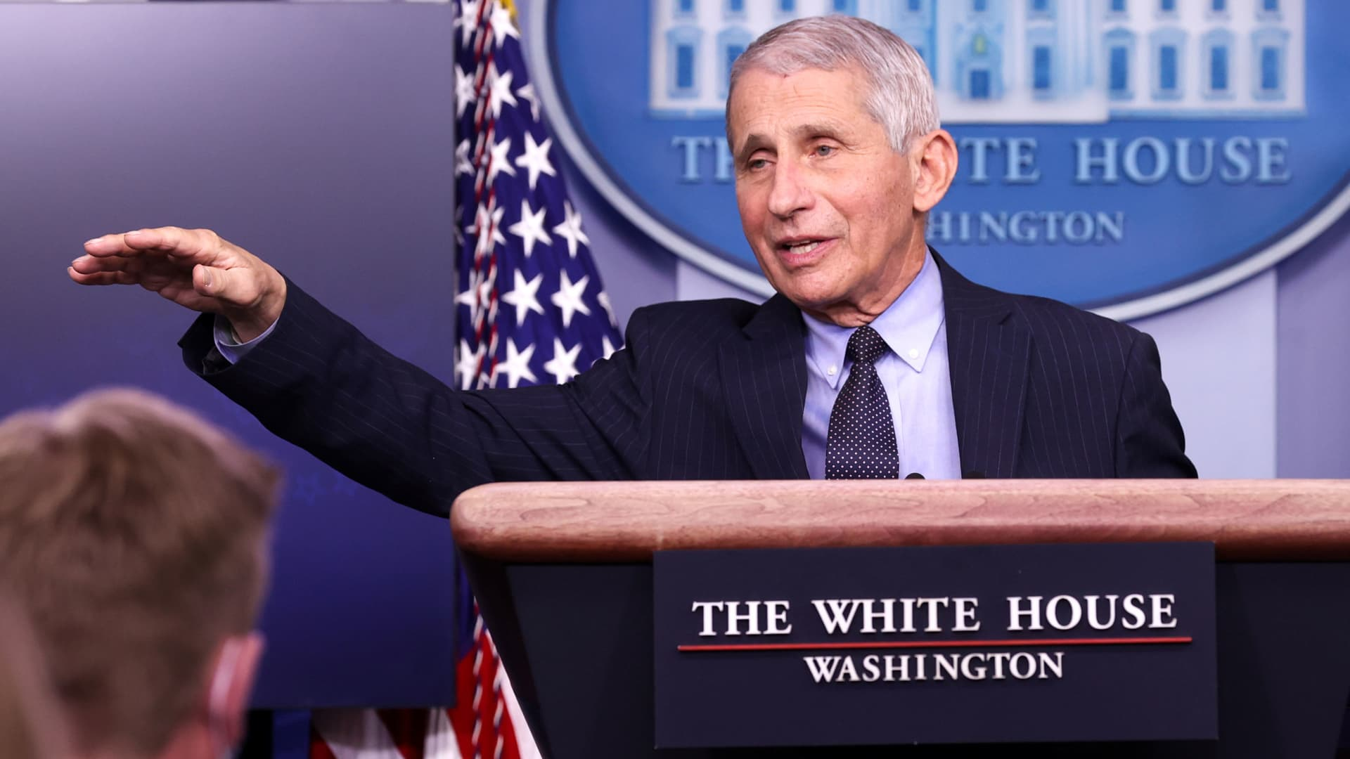 NIH National Institute of Allergy and Infectious Diseases Director Anthony Fauci addresses the daily press briefing at the White House in Washington, January 21, 2021.