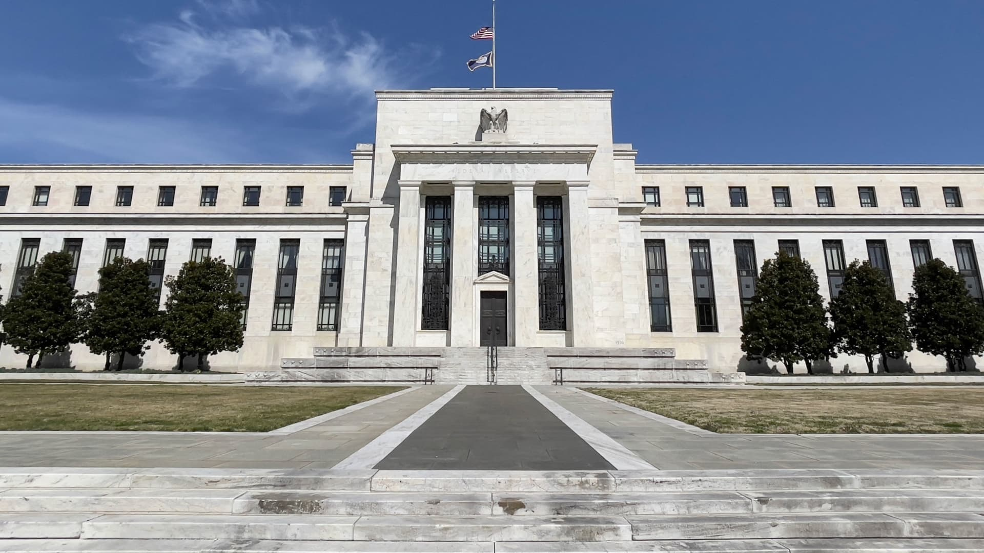 The Federal Reserve building is seen on March 19, 2021 in Washington, DC.