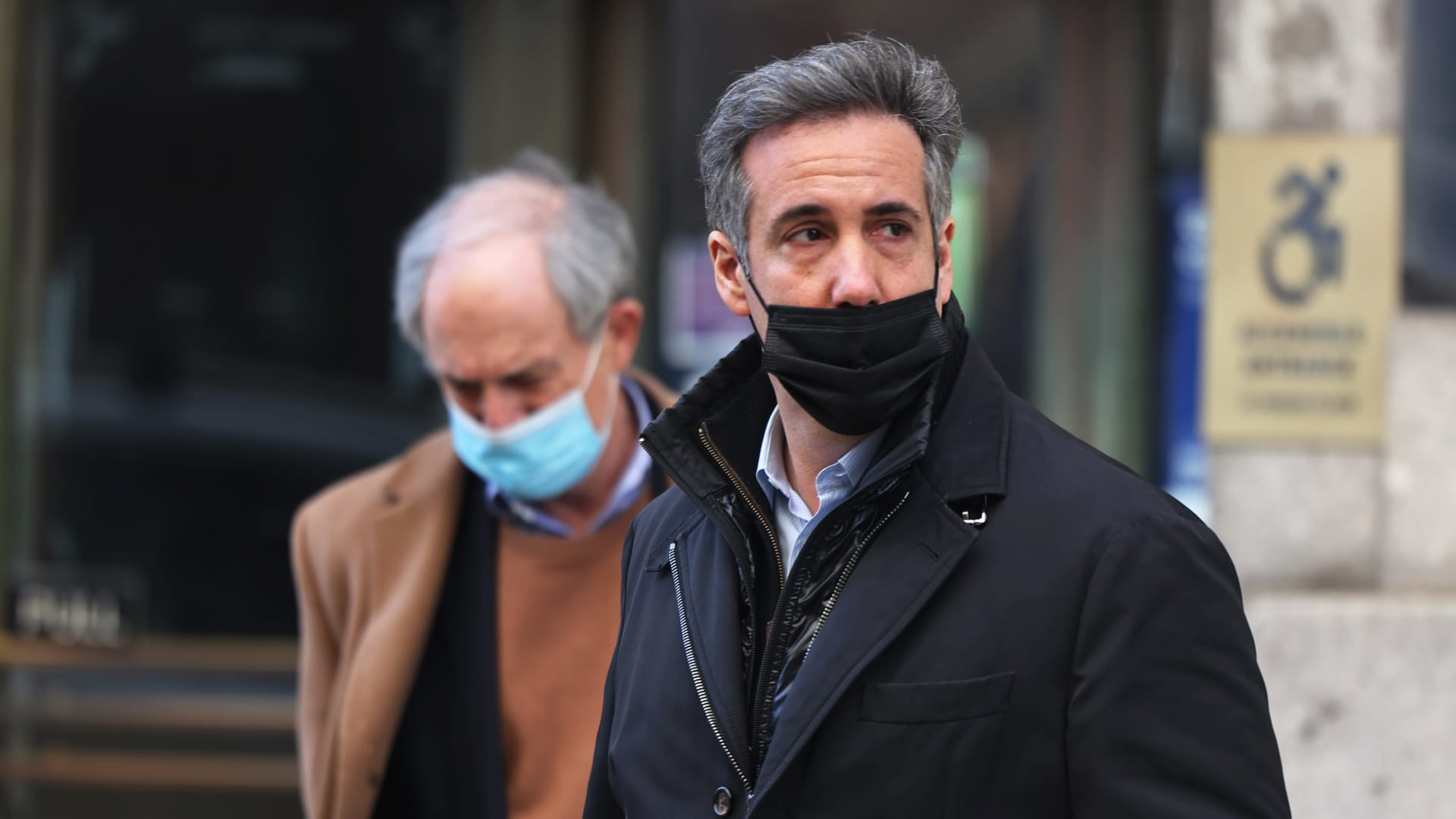Michael Cohen exits the Manhattan district attorney's office on March 19, 2021 in New York City.