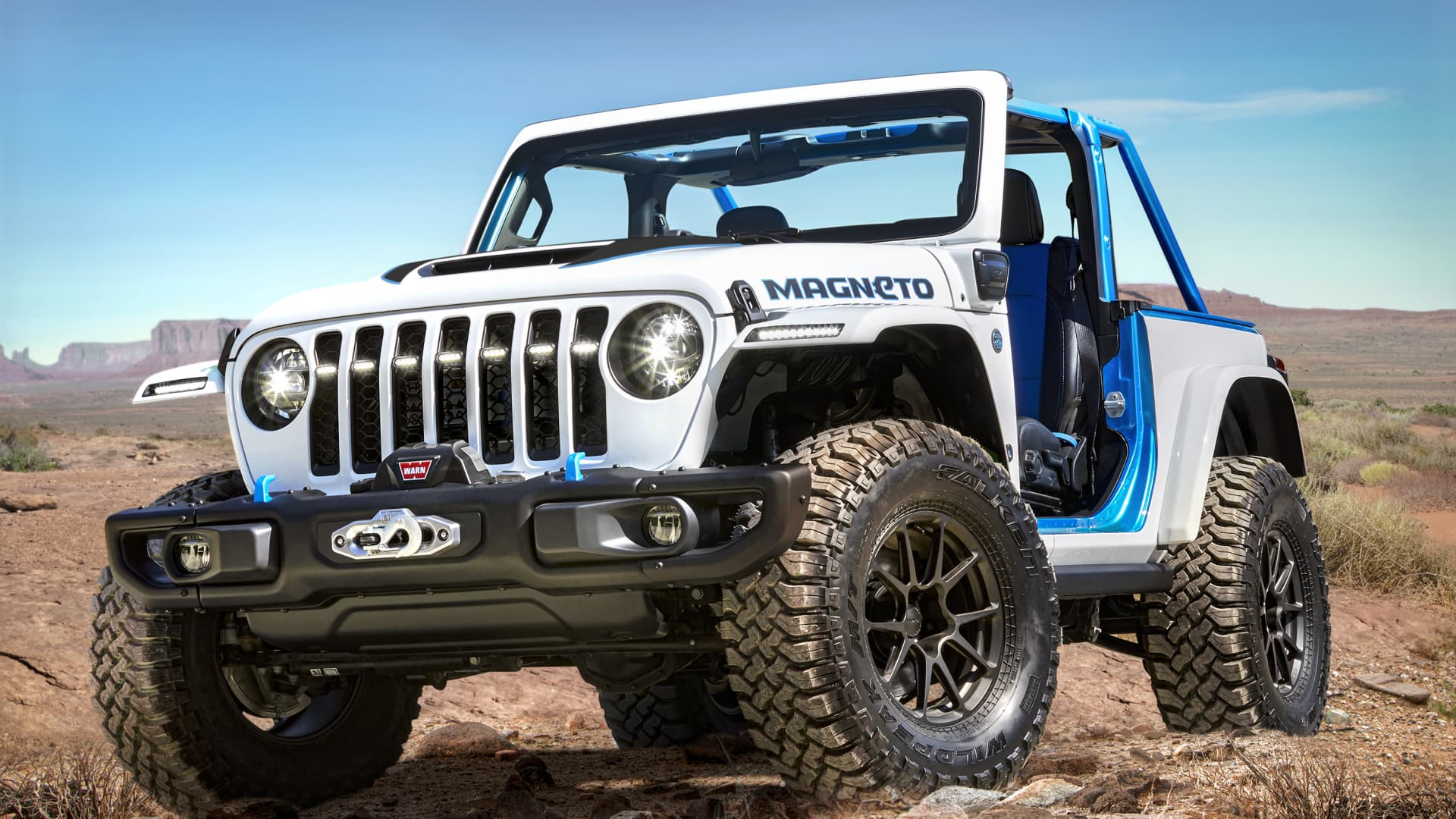 The Jeep Wrangler Magneto concept is a fully electric SUV based on a two-door 2020 Jeep Wrangler Rubicon.