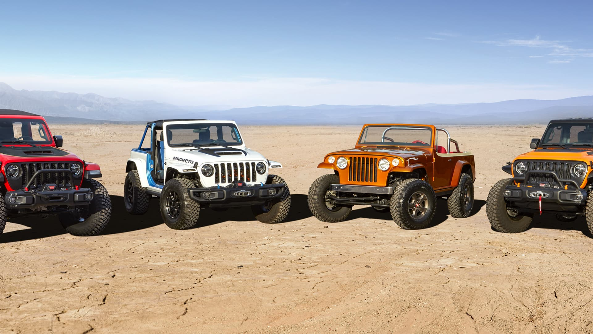 Concept vehicles for this year's Jeep Easter Safari include (left to right) Jeep Red Bare, Jeep Magneto, Jeepster Beach and Jeep Orange Peelz.