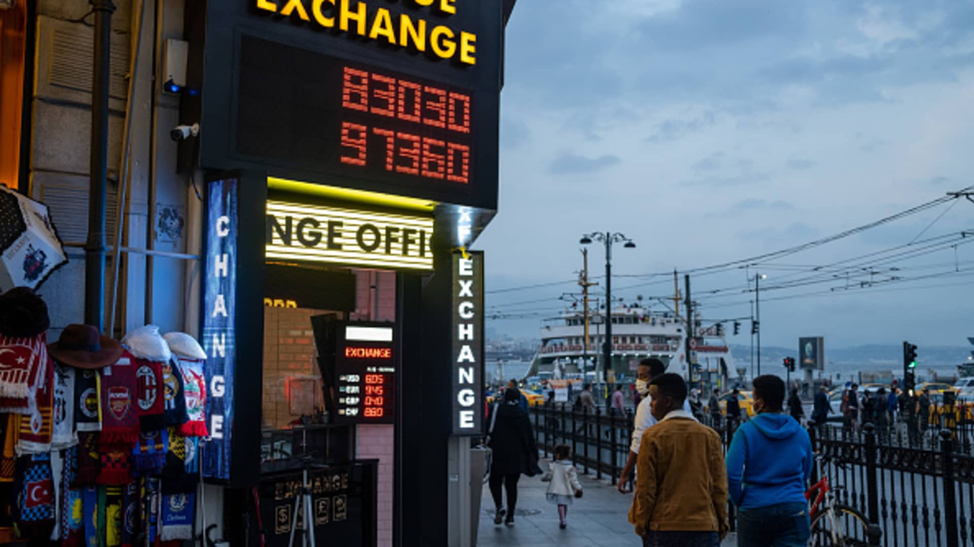 Exchange offices in Istanbul, Turkey seen on October 28, 2020. Due to the increase in exchange rates and the economic instability, people change currency and buy Turkish lira.