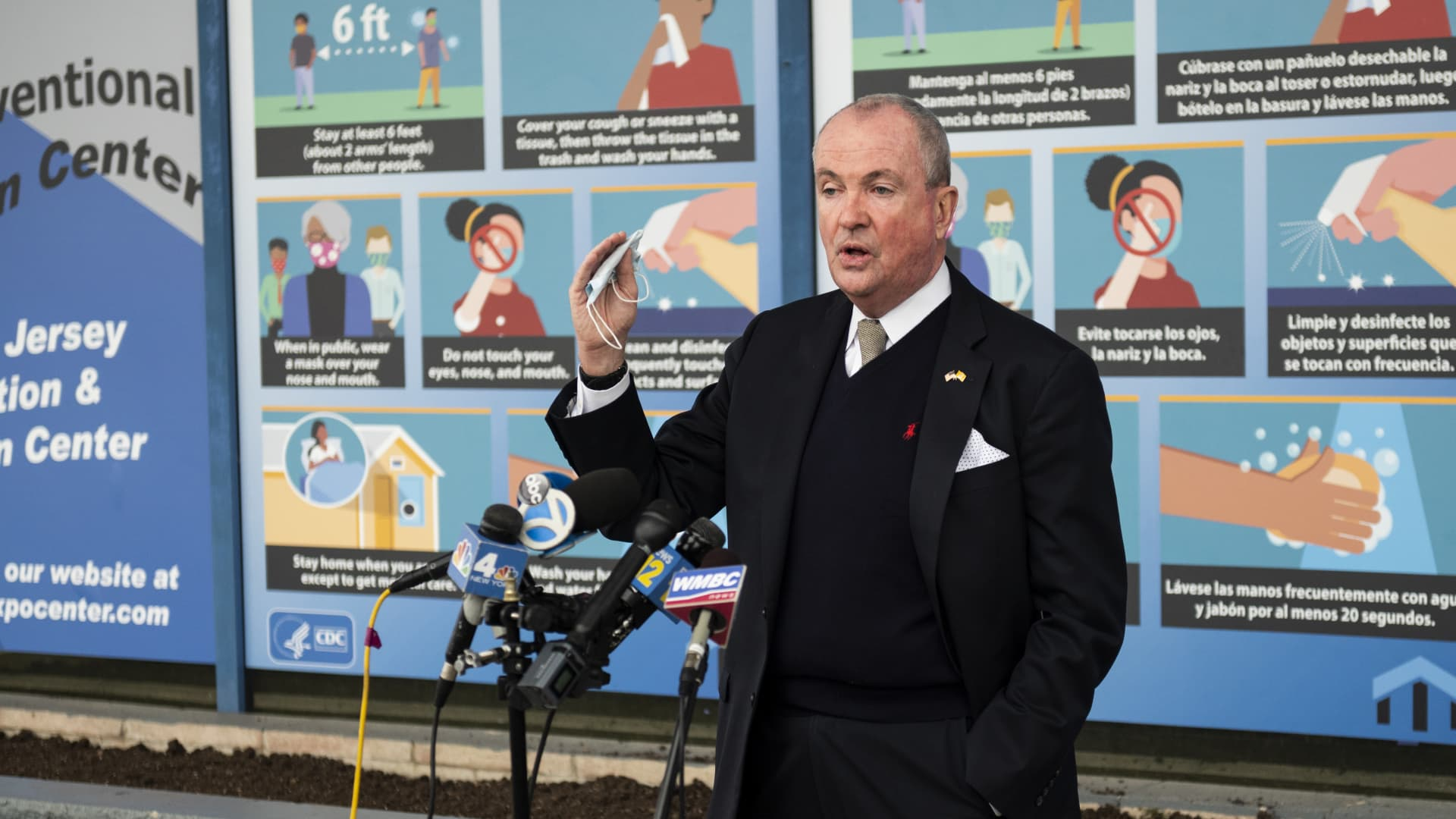 Phil Murphy, New Jersey's governor, speaks at a news conference after touring the New Jersey Convention and Exposition Center Covid-19 vaccination site in Edison, New Jersey, on Friday, Jan. 15, 2021.