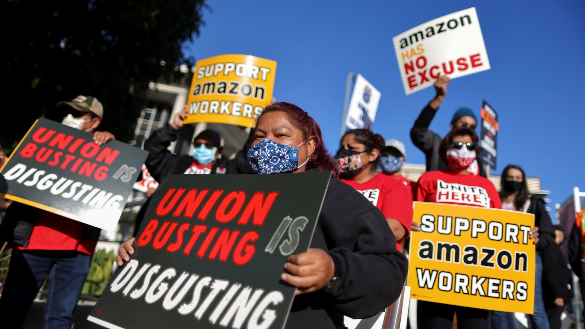People protest in support of the unionizing efforts of the Alabama Amazon workers, in Los Angeles, California, March 22, 2021.