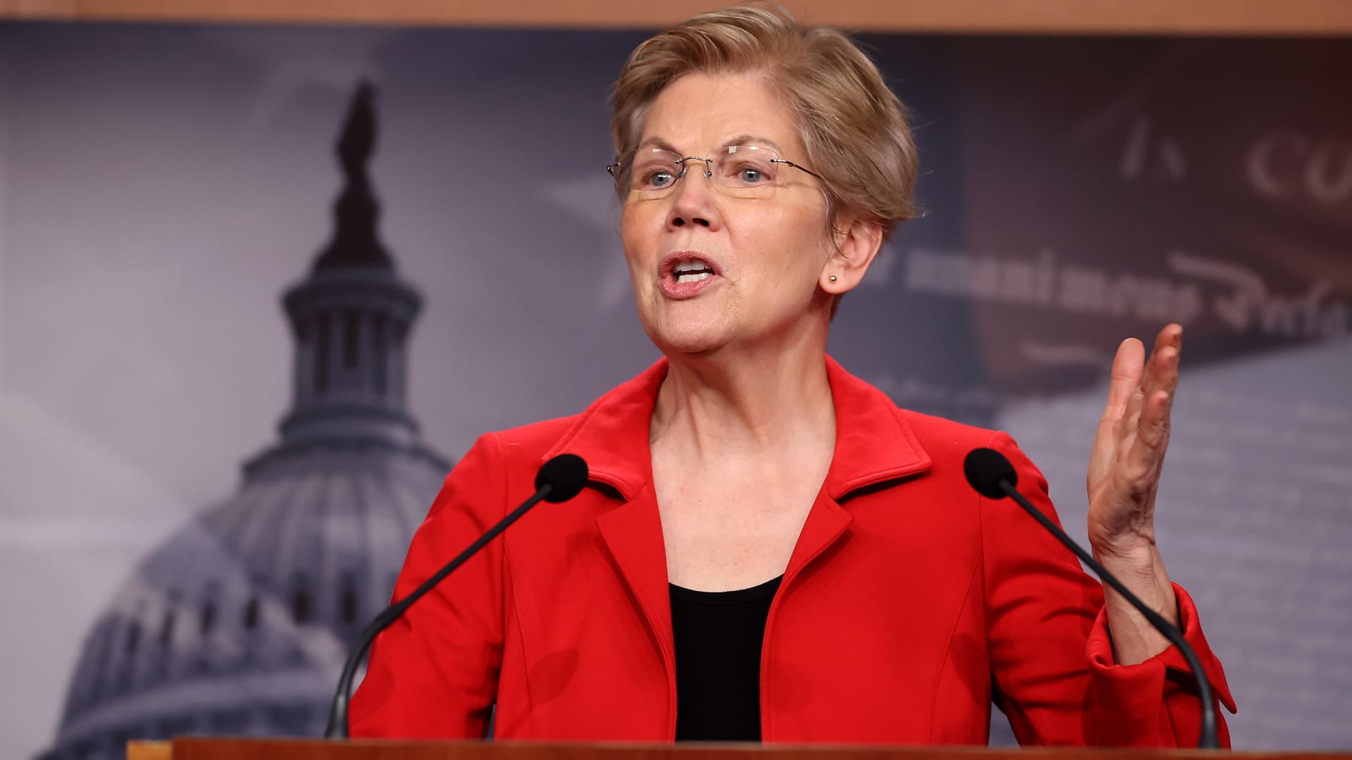 Sen. Elizabeth Warren, D-Mass., holds a news conference to announce legislation that would tax the net worth of America's wealthiest individuals on March 1, 2021 in Washington.