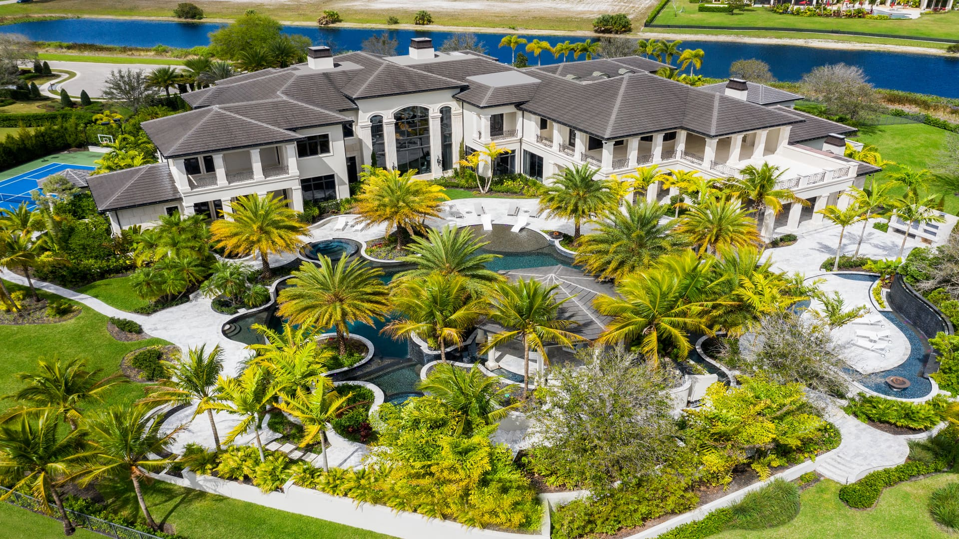 Aerial view of The Rockybrook Estate in Delray Beach, FL