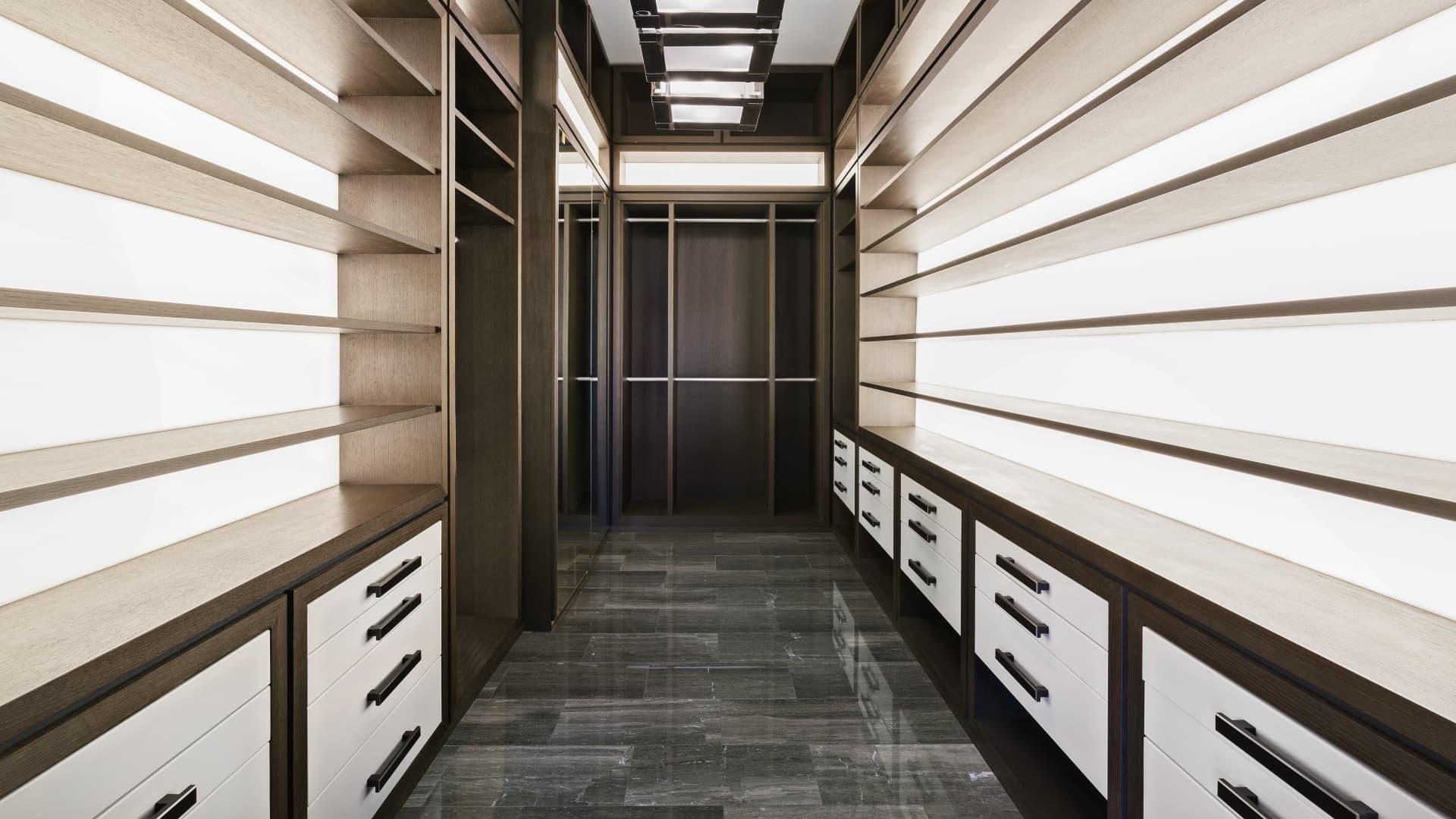 His walk-in closet
