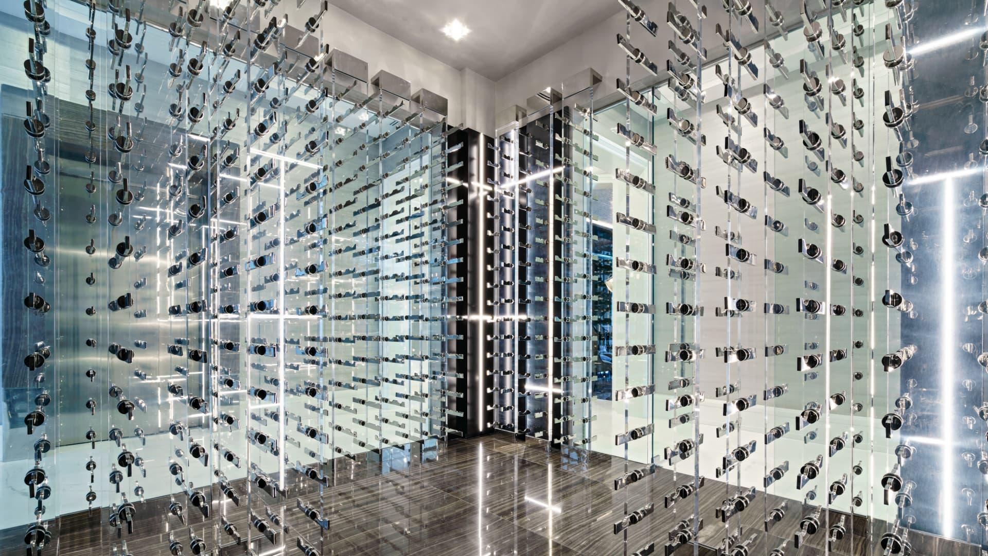 Glass-encased wine room