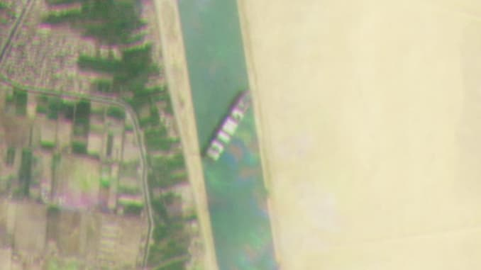 Cropped satellite imagery captured on March 23, 2021 shows the cargo container ship Ever Given blocking the Suez Canal in Egypt.