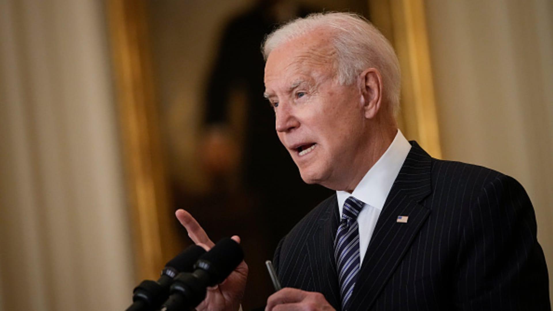 President Joe Biden speaks in the East Room of the White House on March 18, 2021 in Washington, DC.