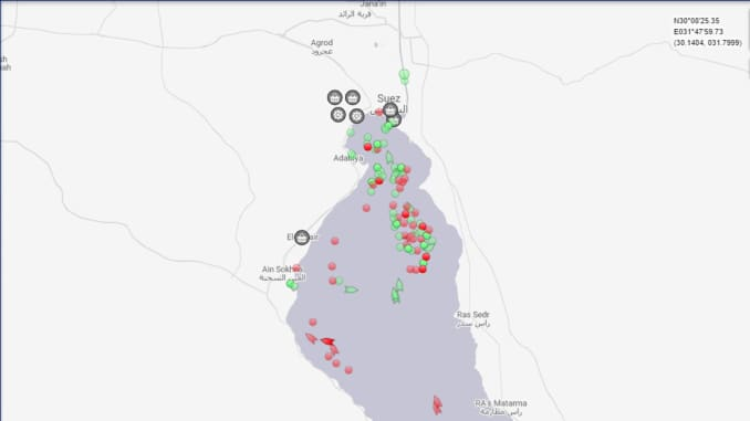 A graph showing shipping traffic halted around the Suez Canal after the ship Ever Given began wedged in the canal.