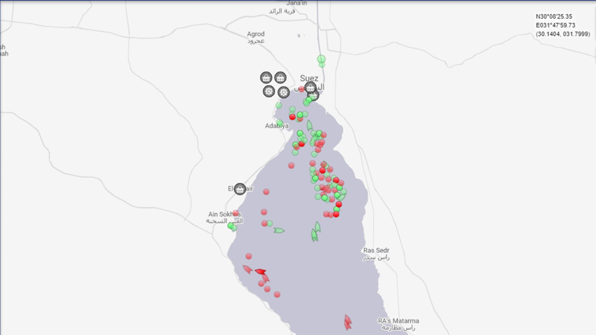 A graph from MarineTraffic showing shipping traffic halted around the Suez Canal after the ship Ever Given became wedged in the canal.