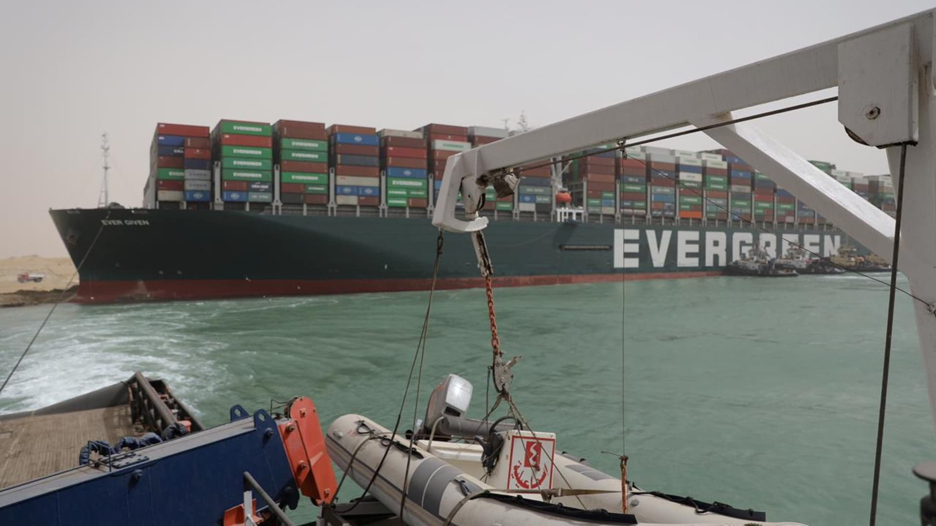 Stranded container ship Ever Given, one of the world's largest container ships, is seen after it ran aground, in Suez Canal, Egypt March 25, 2021.