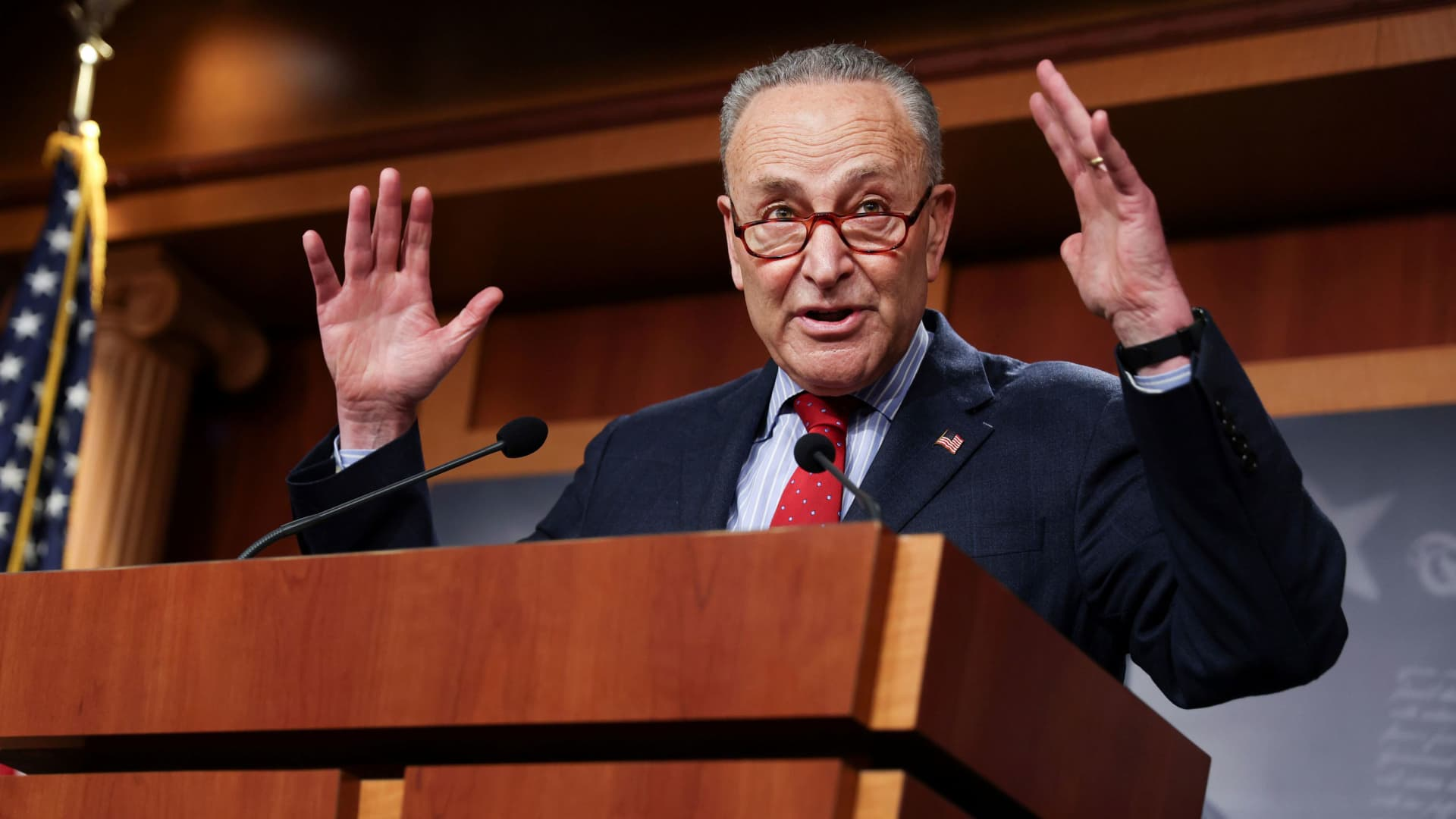 U.S. Senate Majority Leader Chuck Schumer (D-NY) touts Senate Democrats legislative accomplishments as he holds a news conference at the U.S. Capitol in Washington, March 25, 2021.
