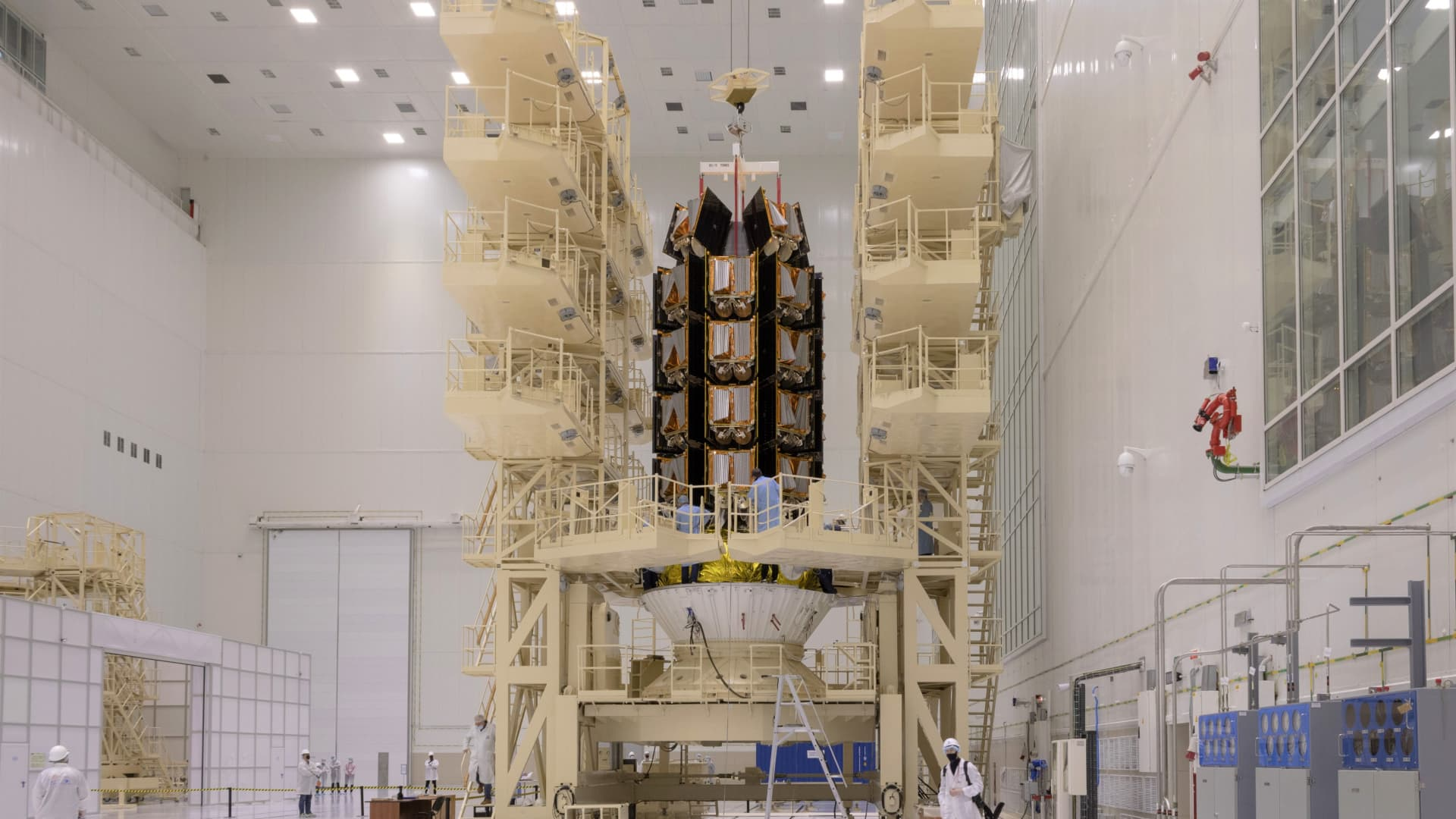 A stack of 36 OneWeb satellites being prepared ahead of its launch on March 25, 2020.