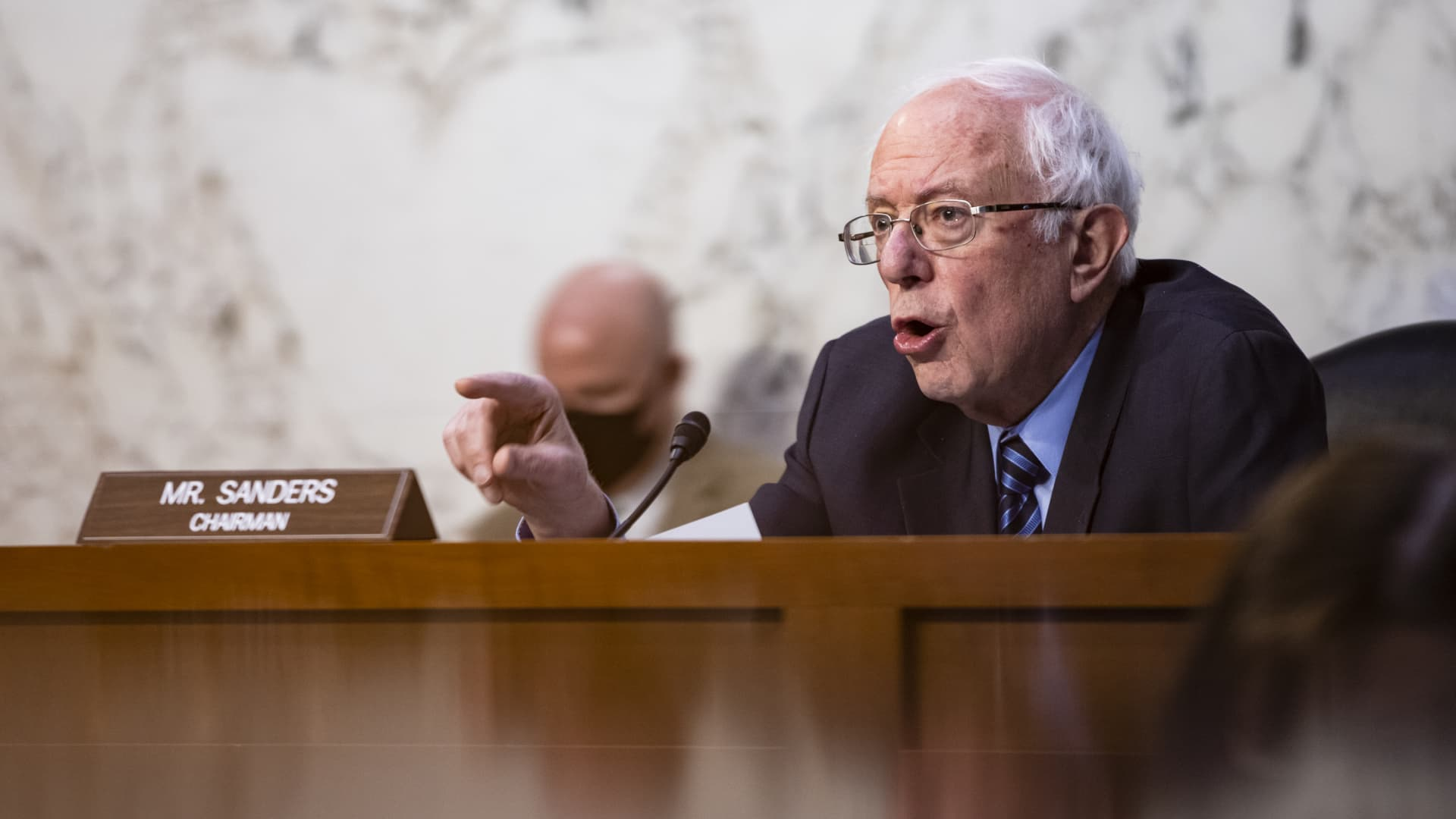 Senator Bernie Sanders, an independent from Vermont and chairman of the Senate Budget Committee, speaks during a hearing in Washington, D.C., U.S., on Wednesday, March 17, 2021.