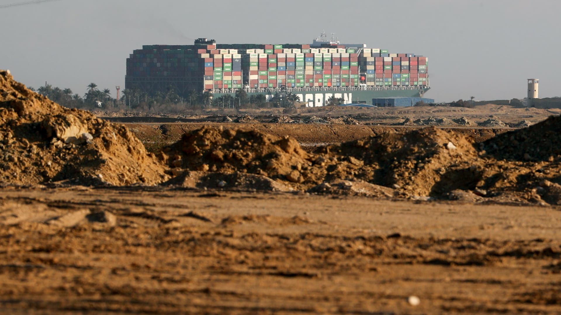 Stranded container ship Ever Given, one of the world's largest container ships, is seen after it ran aground, in Suez Canal, Egypt March 26, 2021.