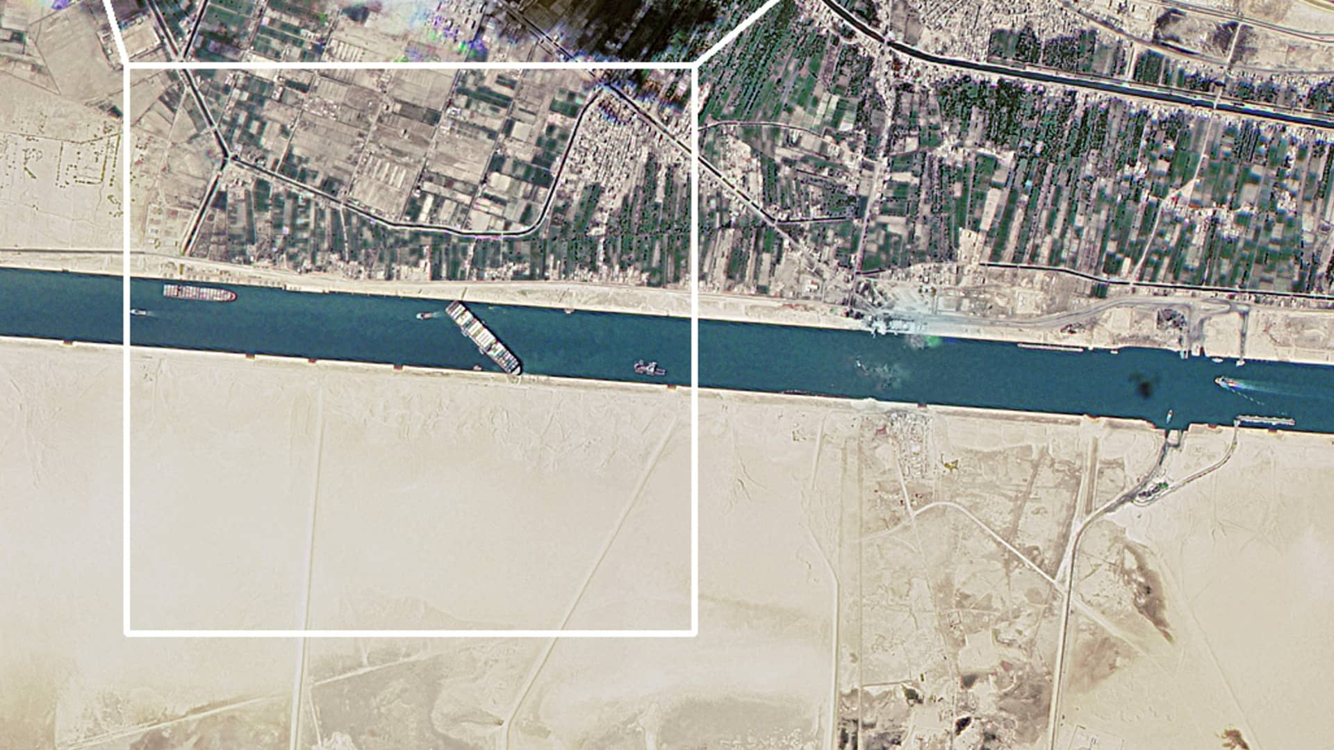 A satellite image shows the Suez Canal blocked by the stranded container ship Ever Given in Egypt March 25, 2021, in this image obtained from Twitter page of Director General of Roscosmos Dmitry Rogozin. Picture taken March 25, 2021.
