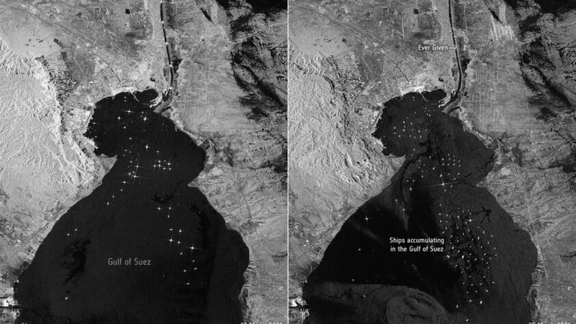 Imagery captured by the Copernicus Sentinel-1 satellite on March 21 and March 25 gives a side-by-side comparison of the shipping traffic in the Gulf of Suez.