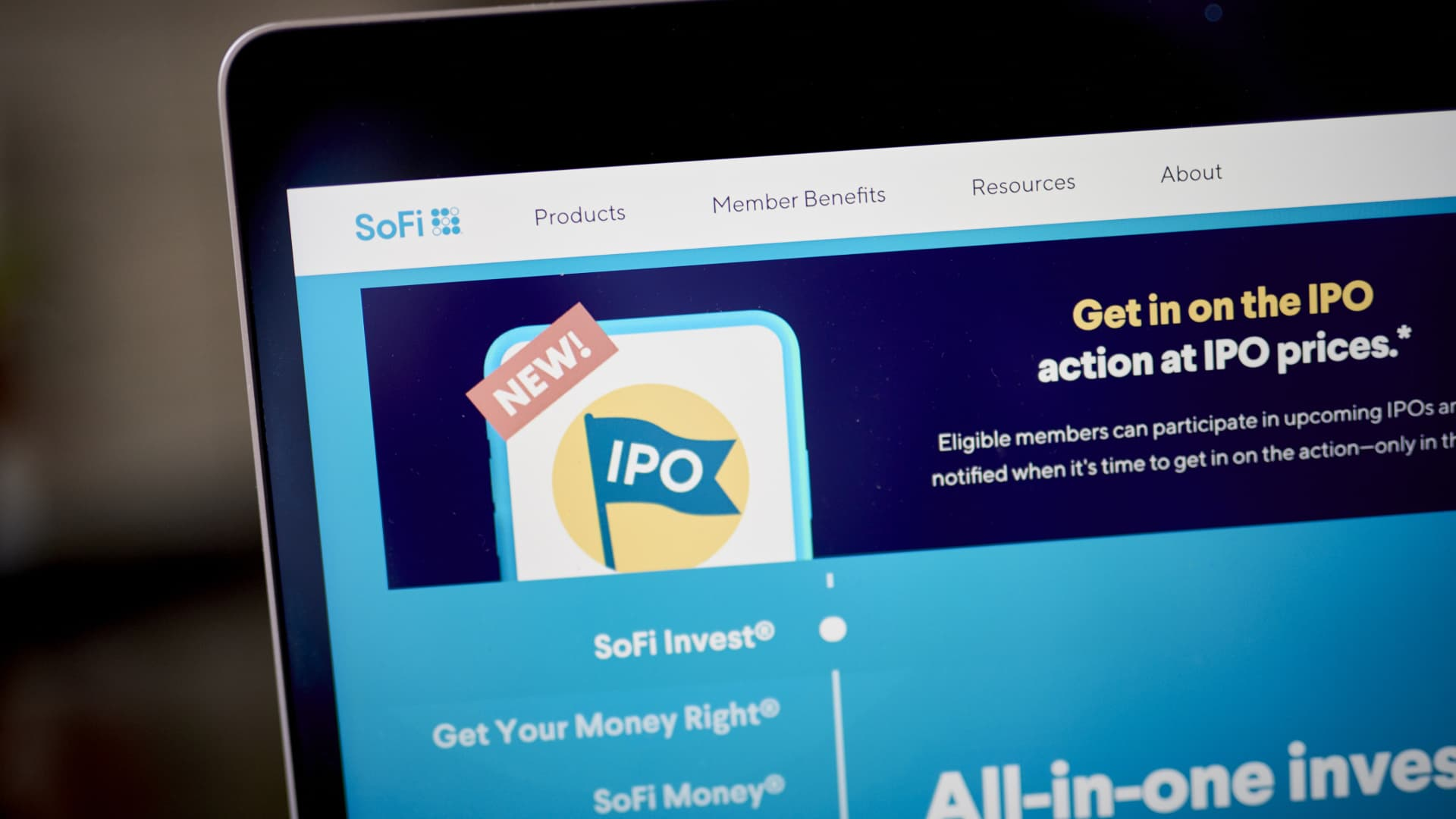 The website for Social Finance (SoFi) on a laptop computer arranged in the Brooklyn borough of New York, U.S., on Friday, March 26, 2021.