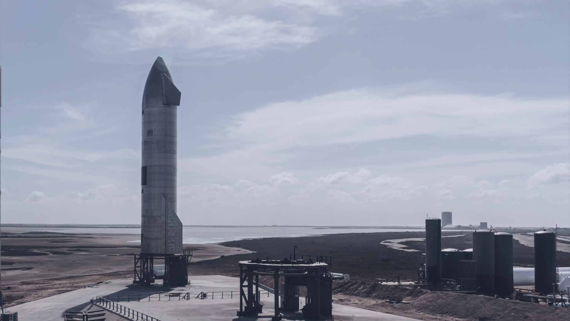 Starship prototype rocket SN11 stands on the launchpad at the company's facility in Boca Chica, Texas.