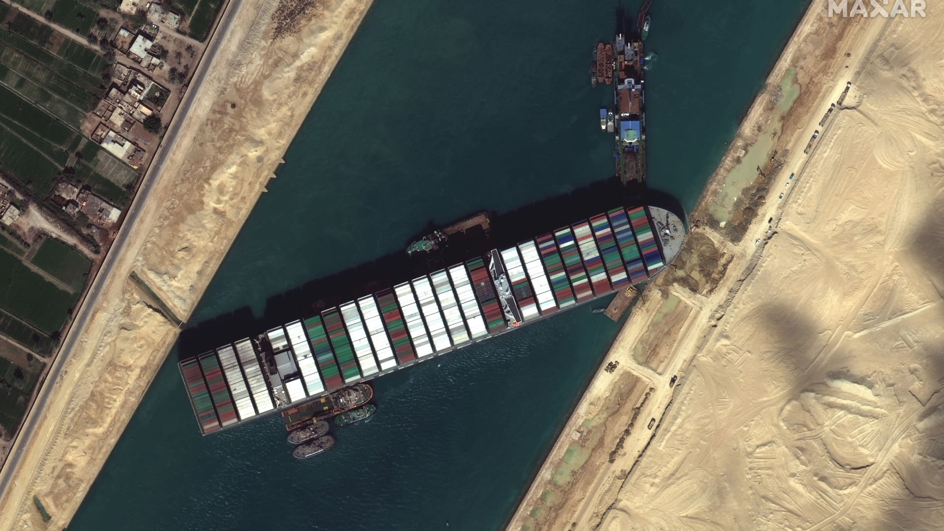 Imagery of the Ever Given in the Suez Canal captured by the company's WorldView-3 satellite on Saturday, March 27, 2021.