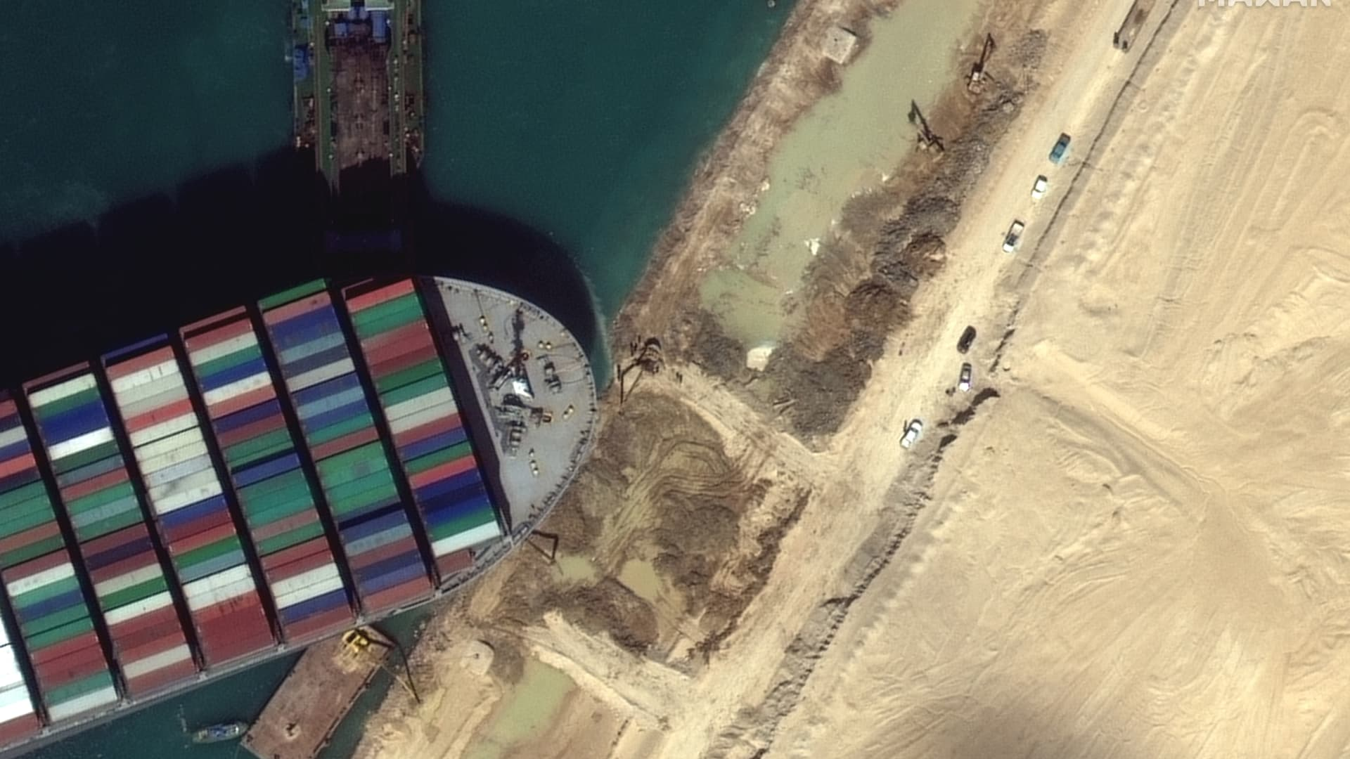 Close up imagery of the dredging operations underway around the Ever Given in the Suez Canal, captured by the company's WorldView-3 satellite on Saturday, March 27, 2021.