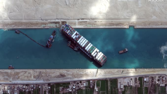 A view shows Ever Given container ship in Suez Canal in this Maxar Technologies satellite image taken on March 28, 2021.