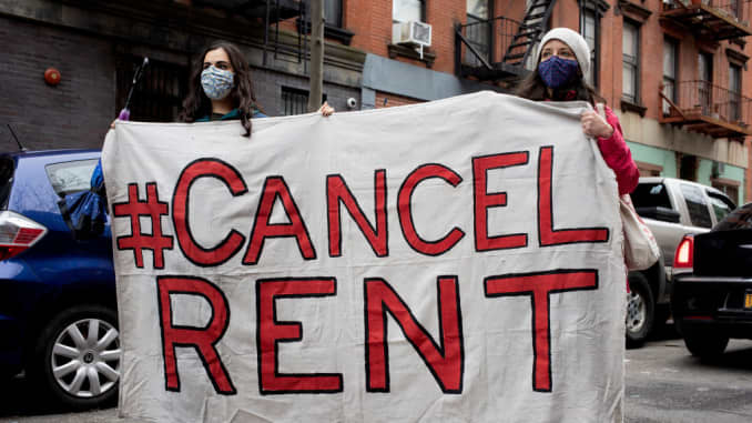 Tenant rights activists hold a demonstration outside the home of New York State Senator Brian Kavanagh to protest what they claim to be inadequate legislative relief for renters during the COVID-19 pandemic and to call for the cancellation of rent, Februa