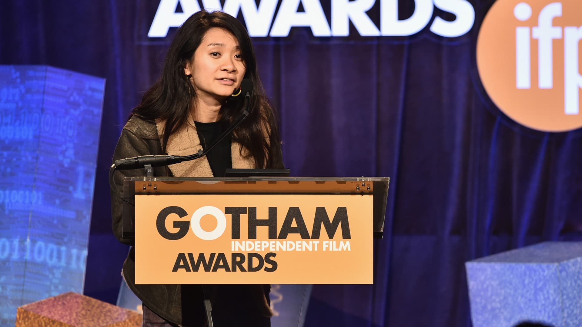 Chloe Zhao speaks onstage IFP's 24th Gotham Independent Film Awards at Cipriani, Wall Street on December 1, 2014 in New York City.