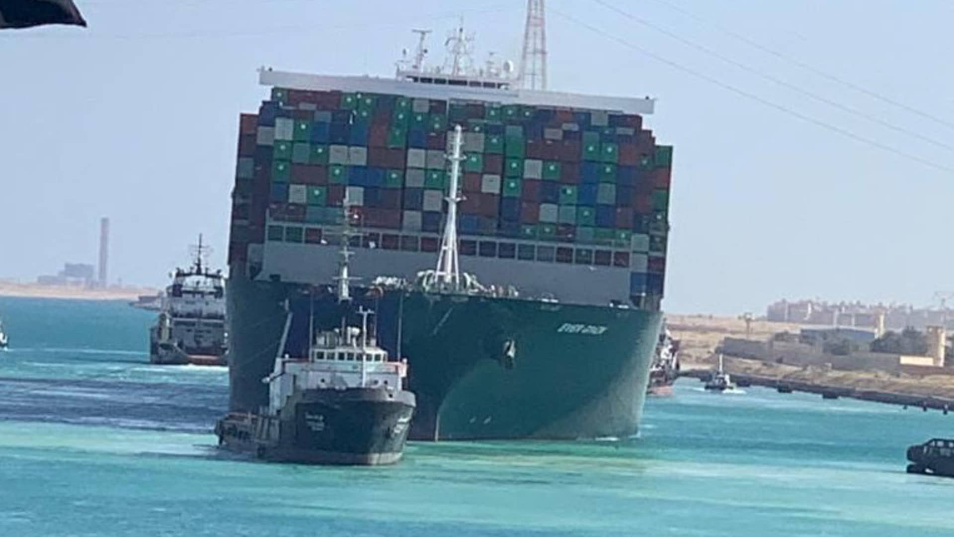 Ship Ever Given, one of the world's largest container ships, is seen after it was fully floated in Suez Canal, Egypt March 29, 2021.