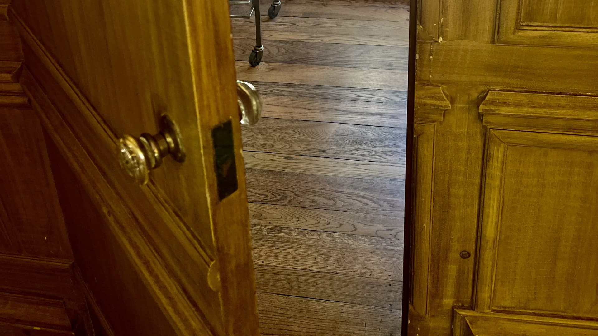 Secret door in living room blends in with the wood paneling