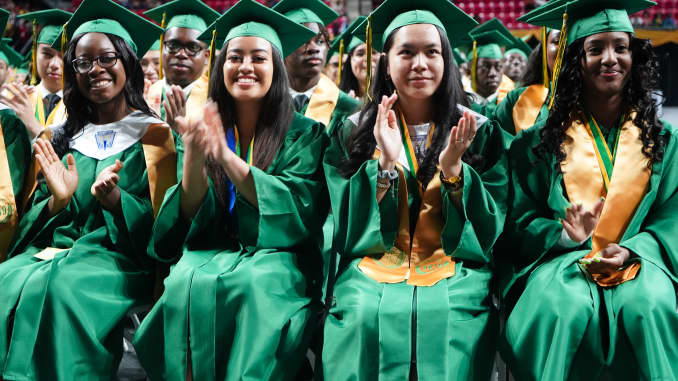 The graduating class of 2019 at Parkdale High School in Riverdale, Maryland. Starting in 2023, seniors will graduate having taken a required personal finance course.