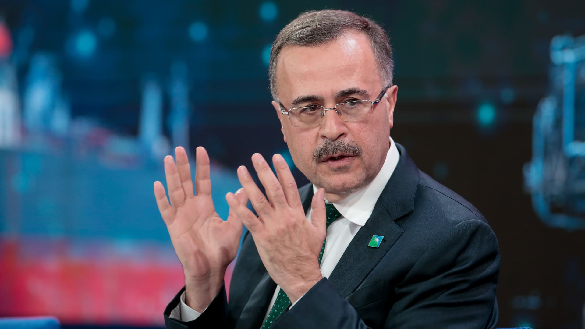 Amin Nasser, chief executive officer of Saudi Aramco, gestures as he speaks during a panel session on day three of the World Economic Forum (WEF) in Davos, Switzerland, on Thursday, Jan. 23, 2020.