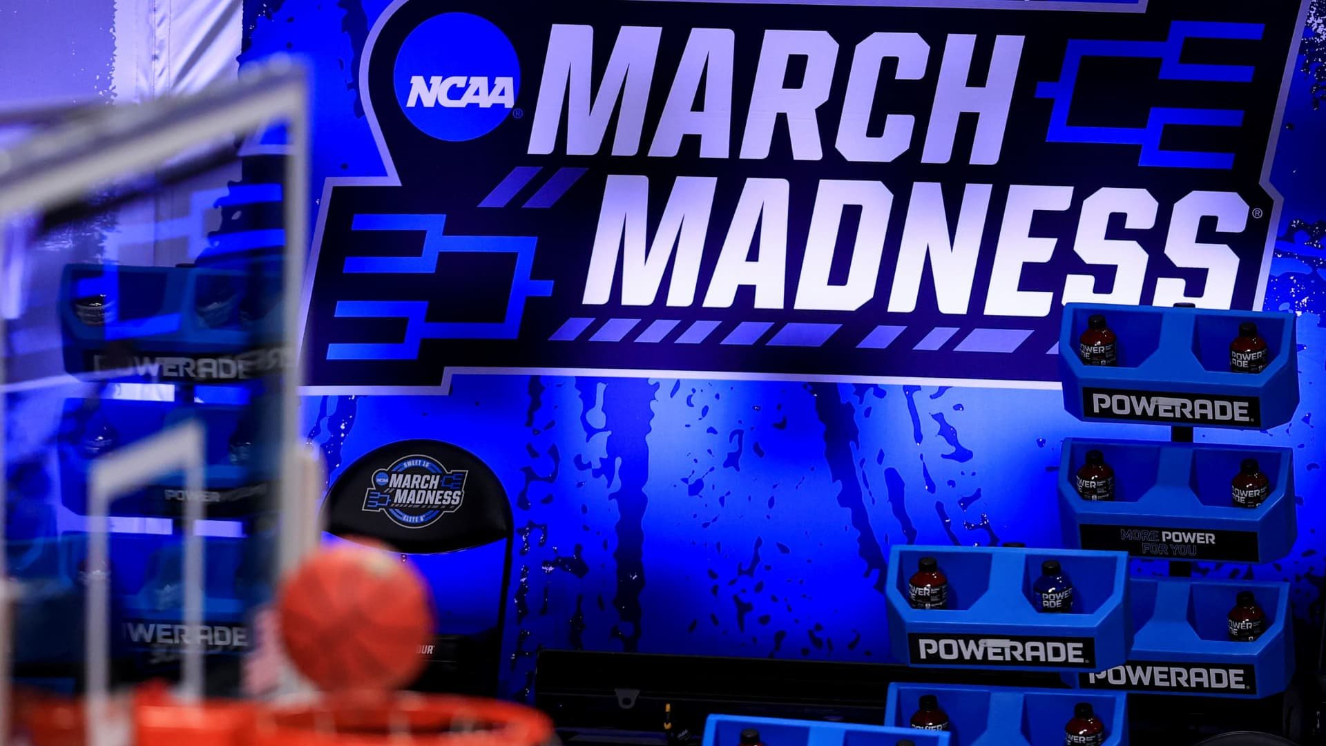 A general view of the March Madness logo before game between the Syracuse Orange and the Houston Cougars in the Sweet Sixteen of the 2021 NCAA Tournament at Hinkle Fieldhouse.