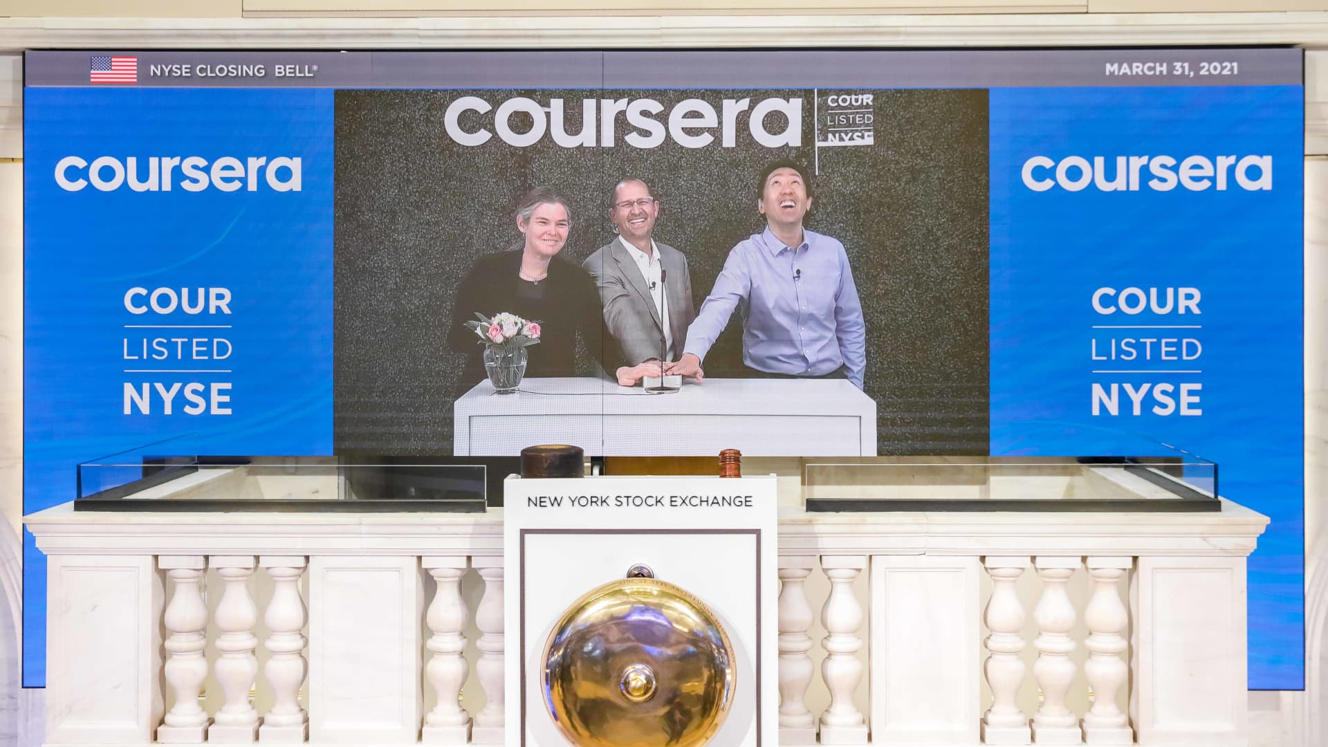 The New York Stock Exchange welcomes Coursera, (NYSE: COUR), today, Wednesday, March 31, 2021, in celebration of its Initial Public Offering. To honor the occasion, Coursera Founders Andrew Ng and Daphne Koller and Coursera CEO Jeff Maggioncalda virtually ring The Opening Bell®.
