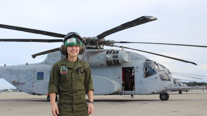 Erin Martin while working as a Marine Corps helicopter mechanic.