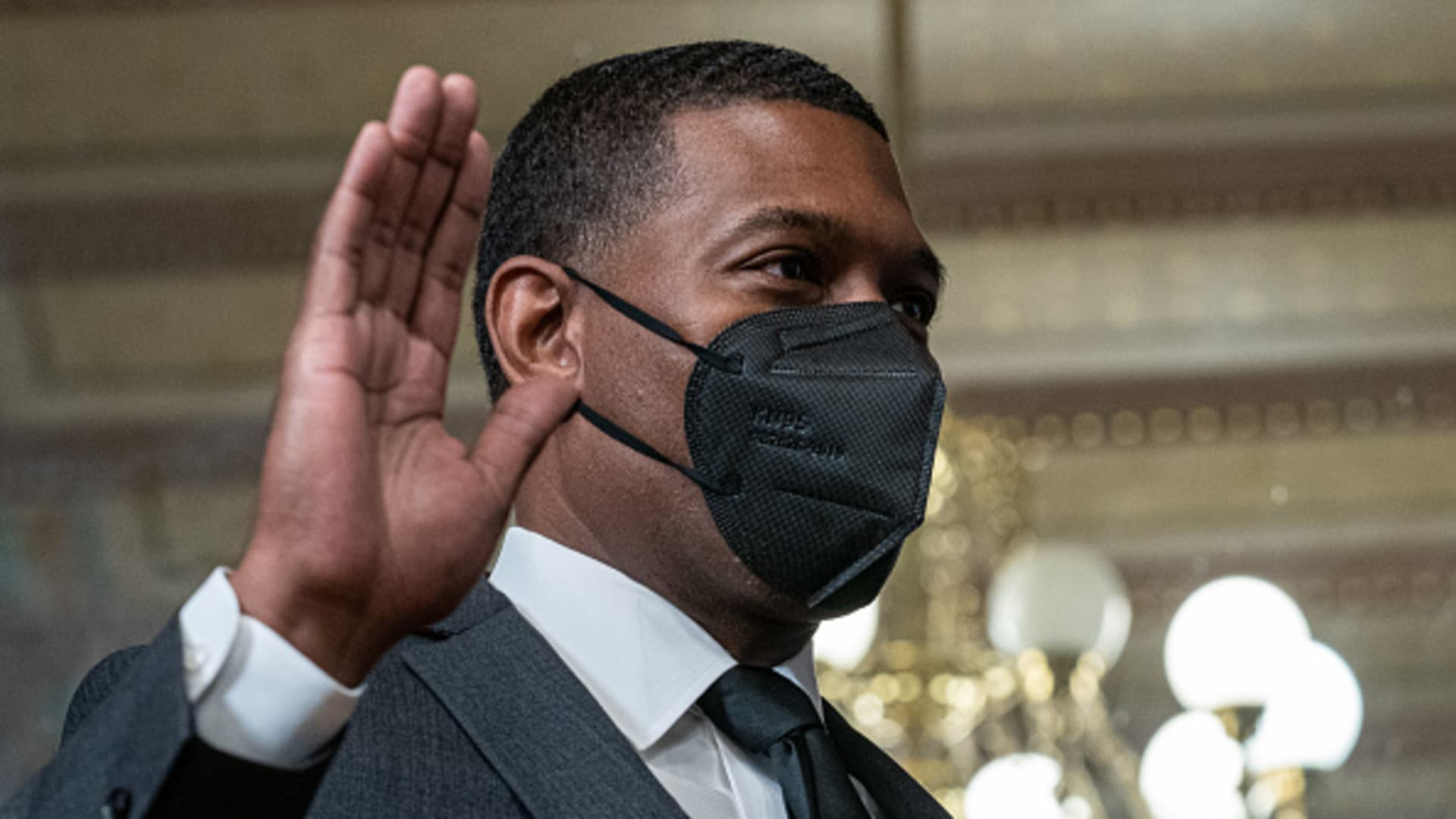 Michael Regan, administrator of the Environmental Protection Agency (EPA), wears a protective mask while being sworn in during a ceremony in Washington, D.C., on Wednesday, March 17, 2021.