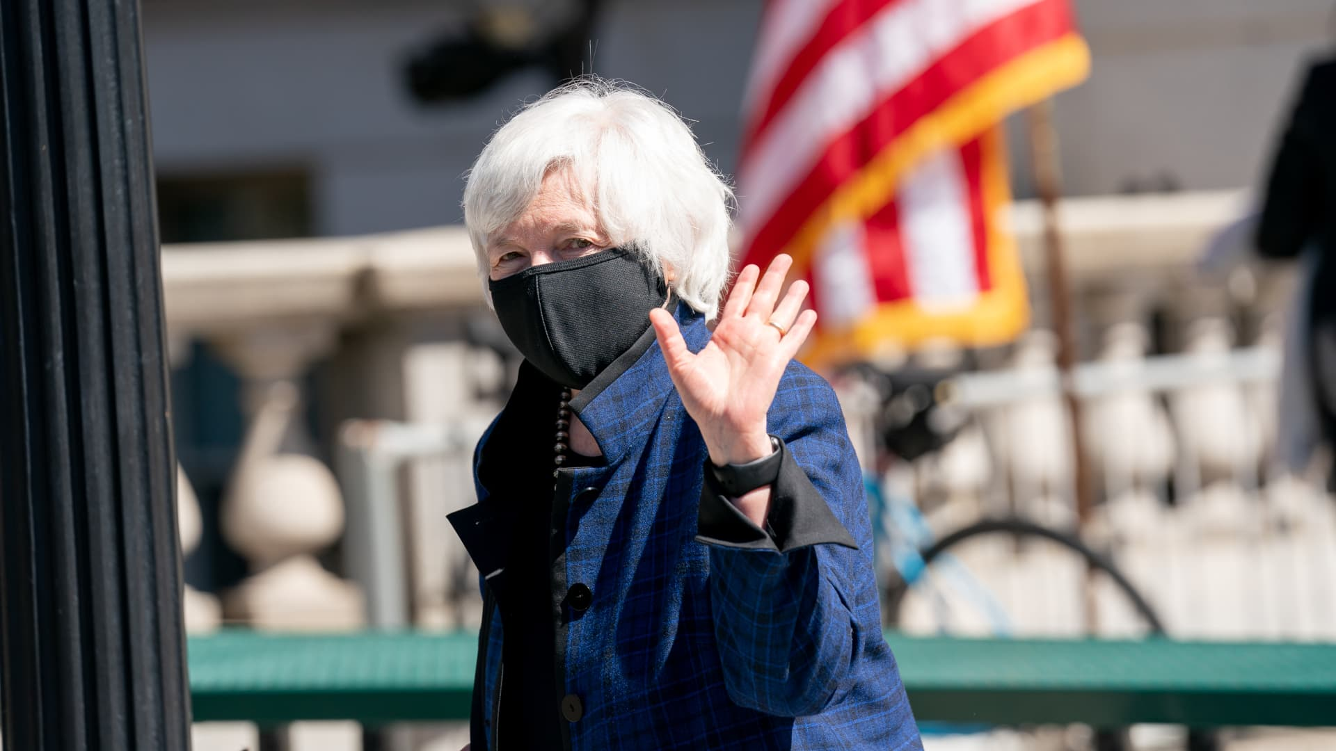 Janet Yellen, U.S. Treasury secretary, waves while exiting after swearing in Wally Adeyemo, deputy U.S. Treasury secretary, at the Treasury Department in Washington, D.C., on Friday, March 26, 2021.