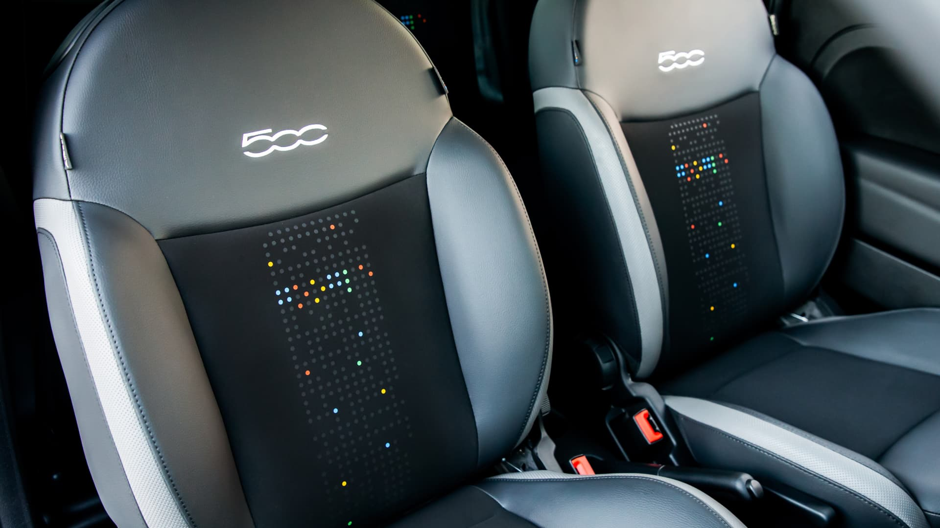 The Fiat 'Hey Google' cars feature upholstery with designs inspired by Google's brand colors.