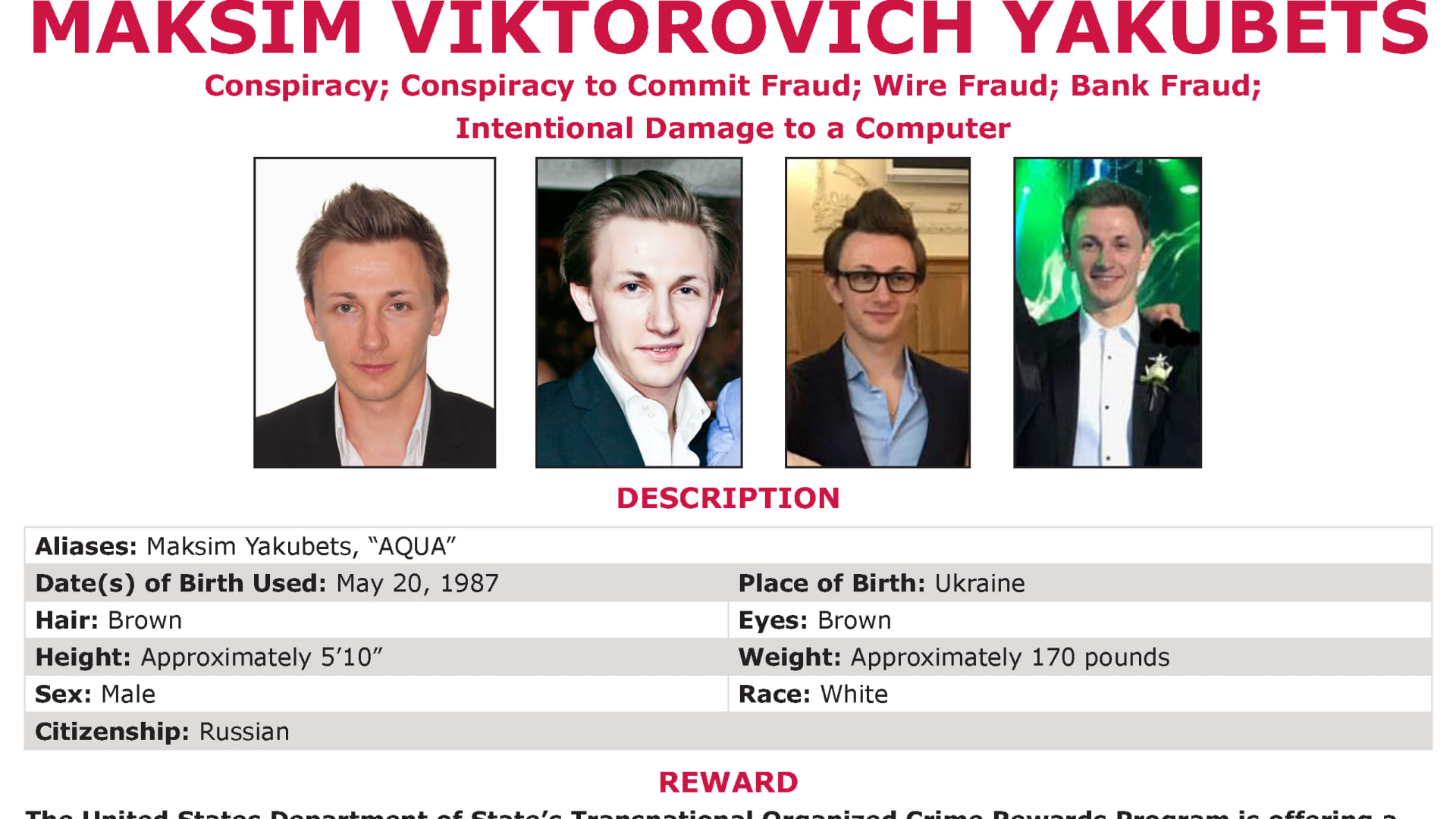 D.O.J Wanted Poster for Maksim Viktorovitch Yakubets