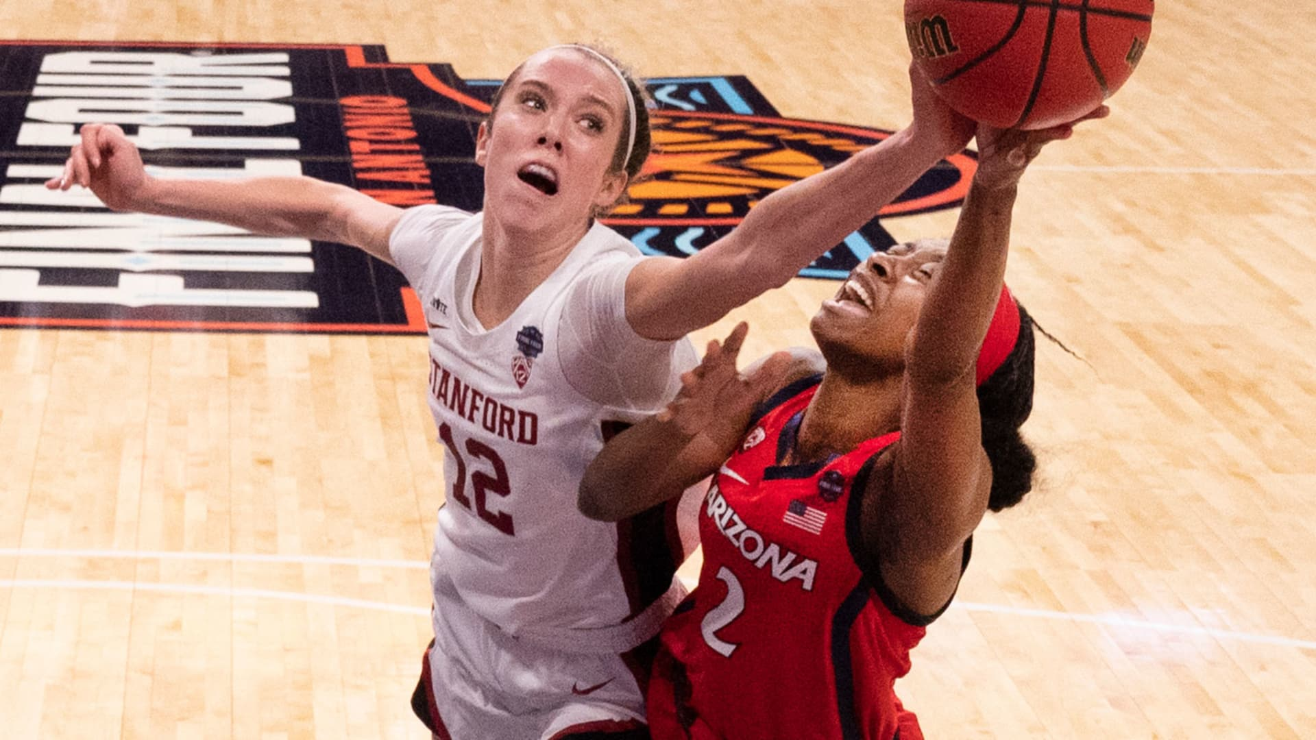 Lexie Hull #12 of the Stanford Cardinal blocks the shot of Aari McDonald #2 of the Arizona Wildcats in the championship game of the NCAA Womens Basketball Tournament at Alamodome on April 4, 2021 in San Antonio, Texas.