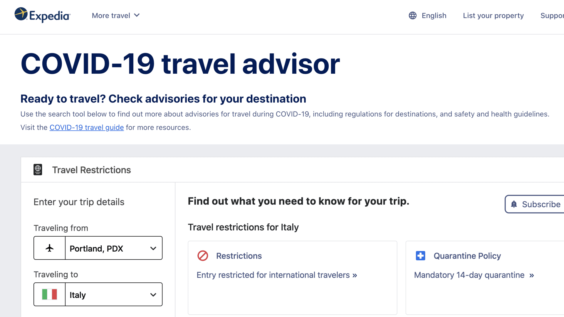 Expedia Group on April 8, 2021 introduced the COVID-19 Travel Advisor, a tech-enabled tool that provides consumers with current details about travel restrictions worldwide.