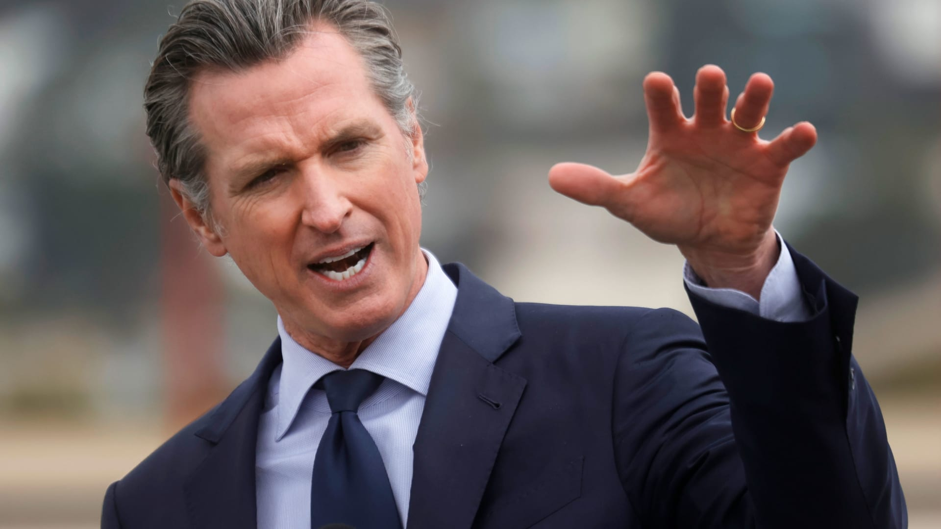 California Gov. Gavin Newsom speaks during a news conference after touring the vaccination clinic at City College of San Francisco on April 06, 2021 in San Francisco, California.