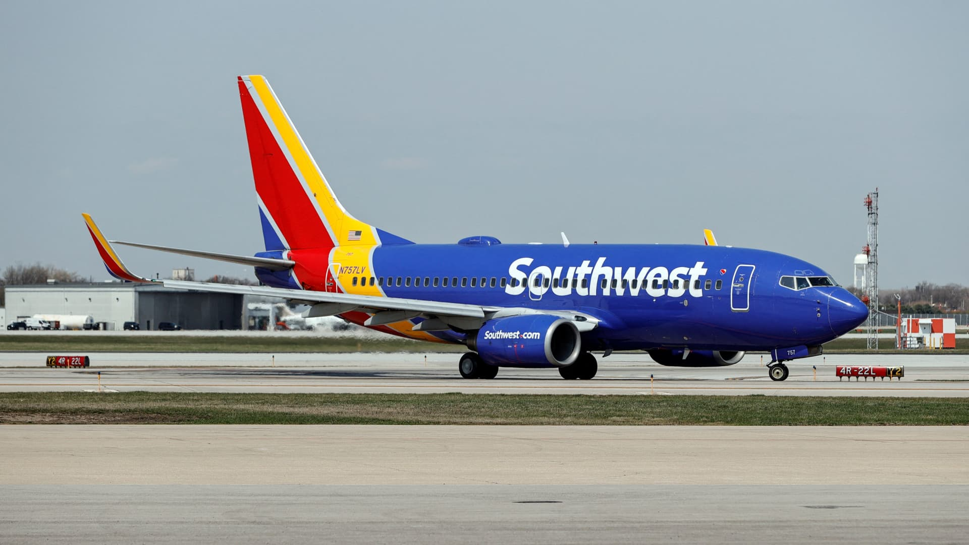 A Southwest Airlines Boeing 737-7H4 jet taxis to the gate after landing at Midway International Airport in Chicago, Illinois, on April 6, 2021.