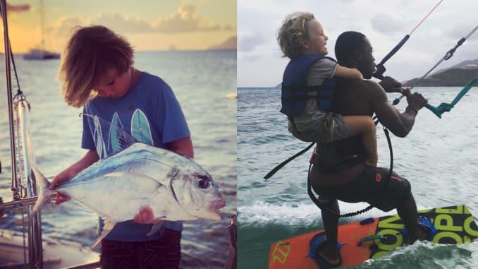 Một đứa trẻ ôm một con cá lớn mà nó bắt được, và một đứa trẻ khác đánh thức trên lưng một người đàn ông trưởng thành.